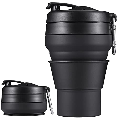 EASYXQ Collapsible Travel Cup, 20 OZ 600ml Large Silicone Folding Camping Cup, Leak Proof BPA Free Portable Cup on the go, Sport Bottle with Lids for hiking (Black)