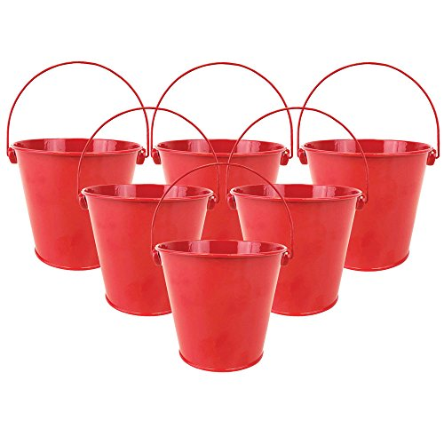 Just Artifacts 4'H Metal Crayon/Pencil Holder Favor Bucket Pails (6pcs, Cherry Red) - Metal Favor Buckets and Craft Supply Holders for School, Birthday Parties and Events!