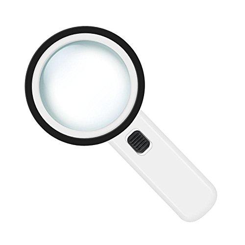 Lupa de Mano 12 Luces LED de Doble Capa Lupa Cristal Lupa de Mano Portátil para Lectura Joyería Reloj 90mm 30X