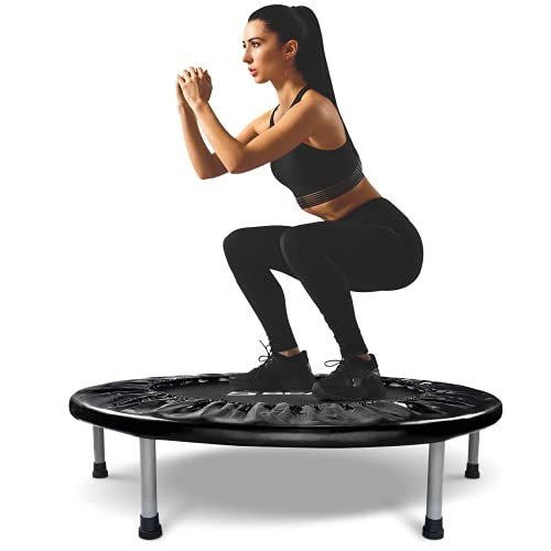 """BCAN 38"""" Foldable Mini Trampoline, Fitness Trampoline with Safety Pad, Stable & Quiet Exercise Rebounder for Kids Adults Indoor/Garden Workout Max 300lbs - Black"""