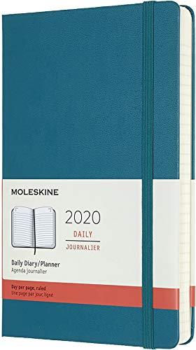 Moleskine 12 Mesi 2020 Agenda Giornaliera, Copertina Rigida e Chiusura ad Elastico, Colore Verde Magnetico, Dimensione Large 13 x 21 cm, 400 Pagine