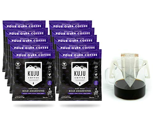 Kuju Coffee Premium Single-Serve Pour Over Coffee | Ethically Sourced, Specialty Grade, Eco-Friendly | Bold Awakening, Dark Roast, 10-pack