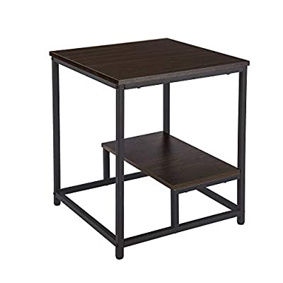 FIVEGIVEN Industrial End Table 22 Inch Side Table Night Stand Wood Look Accent Furniture with Metal Frame Brown Walnut