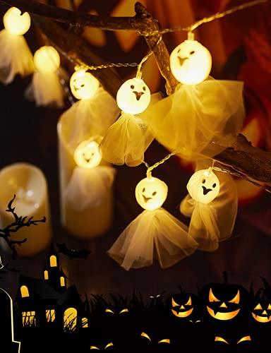 Cadena de Luces Halloween, Fantasma Guirnalda Luces 20 LED, Luces de hadas de Pilas, Impermeable Luces de Fantasma para Halloween, Navidad, Acción de Gracias, Decoración de Interiores y Exteriores