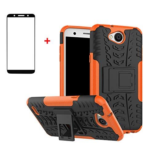 FullProtecter LG X Power2 Hülle,Bumper Cover Schutz Tasche Handyhülle Schutzhülle Silikon TPU+PC Hardcase für LG X Power2(Orange)+2 Stück Panzerglas Schutzfolie