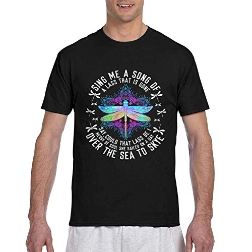 IUBBKI Camiseta básica de Manga Corta para Hombre Outlander Theme Fly Sing Me A Song Lyrics T-Shirt for Men