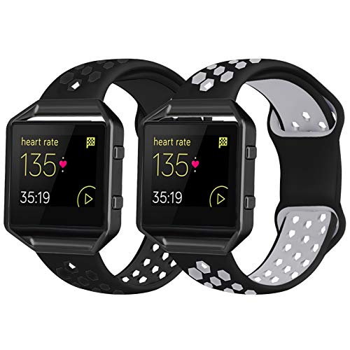 2 Pack Bands Compatible with Fitbit Blaze with Black Frame for Men Women, Soft Silicone Breathable Replacement Sport Accessory Strap Wristband for Blaze Fitness Watch (Black/Black Grey Large)