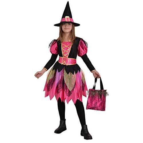 Ciao - Fashion Witch Girl Costume Streghetta con Cappello e Borsa per Bambini, Rosa/Nero, 8-10 anni, 13027.8-10
