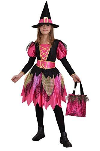 Ciao Fashion Witch Girl kostuum heks met muts en tas voor kinderen 8-10 anni Roze/Zwart
