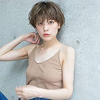 Lei Zhang かつら女性の短いストレートの髪の女性化学繊維かつら波頭カバー (Color : Brown)
