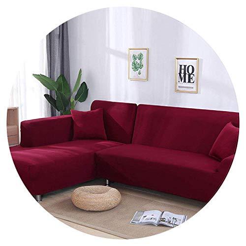 JIAN YA NA - Funda de sofá, extensible, de poliéster, para sofá de ángulo + 2 fundas de almohada, tela, Vin, 2 Place + 2 Place