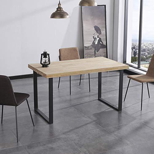Adec Group Natural, Mesa de Comedor, Mesa Salon o Cocina Fija Color Roble Salvaje y Negro, Medidas: 140 cm (Largo) x 80 cm (Ancho) x 76,5 cm (Alto)