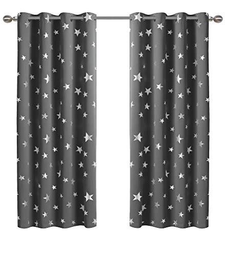 Anjee Star Blackout Curtains for Bedroom 63 Inches Length Grey Window Drapes Silver Foil Printed Room Darkening Panels Grommet Thermal Insulated Drapery Kids Room Decors,Space Gray 52x63 Inches