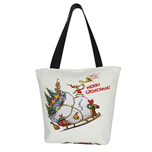 Merry Grinchmas Einkaufstasche, Ripstop-Stoff, leicht, stabil, maschinenwaschbar, Polyester