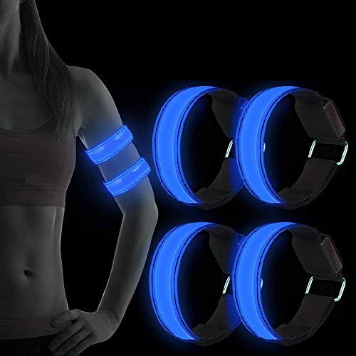 Sylanda LED Armband, 4 Stück LED Reflective Armbänder Leuchtband Reflektierende Lichtband Lauflicht Kinder Nacht Sicherheits Licht für Nachtlauf Joggen Radfahren Hundewandern Outdoor Sports