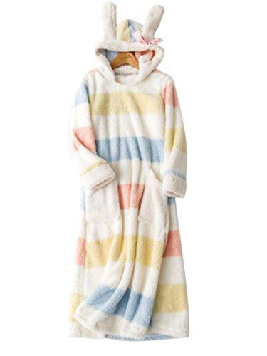 Royanney パジャマ ネグリジェ もこもこ モコモコ 冬 レディース ルームウェア ワンピース うさぎみみ タオル生地 あったか ふわふわ ふわもこ ワンピース 着る毛布 マキシワンピース