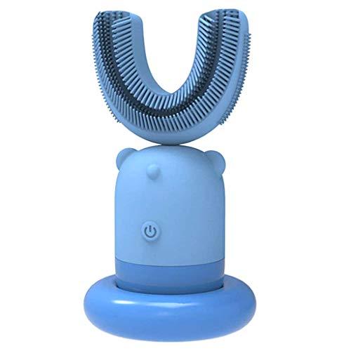 QWSA Kinderzahnbürste Automatische Intelligente Schallbürste Intelligente Elektrische Zahnbürste Mit U-Förmiger Bürste Kopf Mund Tasse Silikon Weiche Borsten Mundpflege,Blau,6~12