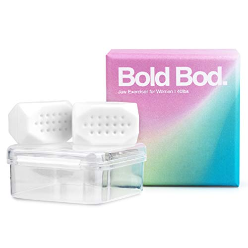 BOLD BOD - Jaw Exerciser for Women - Define, Slim and Tone Your Neck & Face with our Sleek Jawline Exerciser for Women - Jaw Line Exercise Workout Device - Reduce Anxiety & Cravings - Beginner - White