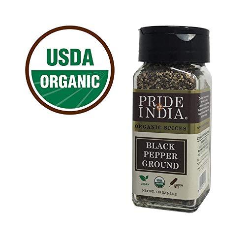 Pride Of India - Biologische gemalen zwarte peper - 1.65 oz (47gm) Kleine dubbele zeefpot - Verse veganistische kruiden en kruiden - Geteeld in India