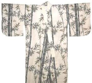 Japanese Men's Yukata Kimono Robe Bamboo White 60in Size L