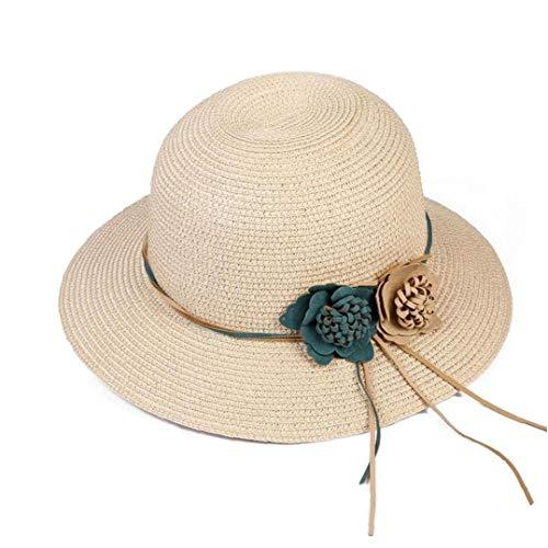 Casquillo de la paja playa de las mujeres sombrero del verano del sombrero de paja de la sombrilla del sombrero de Fedora de la guirnalda de la muchacha - color crema suministros de la playa