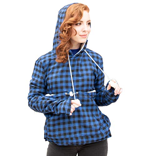 Pet Pouch Hoodie - Cat Dog Holder Sweatshirt Large Pocket Carrier Pullover Tops for Women (Blue+Black, Small)