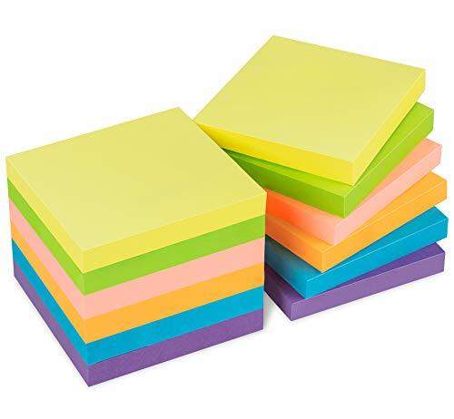 1200 Foglietti Adesivi per Appunti di 76 x 76 mm, Blocchetti Memo Adesivi in Colori Assortiti, Autoadesivi e Removibili, per Studiare o Ufficio, Confezione di 6 Colori da 12 Blocchi