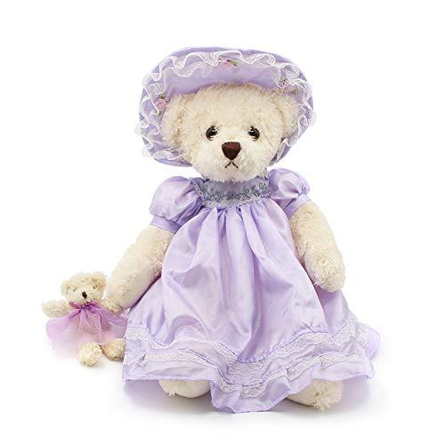 yfkjh Teddybär Puppe, Plüsch Spielzeug tragen Rock Sato Puppe, Rag Puppe Geburtstagsgeschenk 40cm Lila Pyjamas