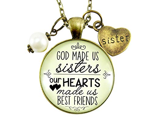 """Gutsy Goodness 24"""" Sisters Necklace God Made Us Sisters Best Friends Faith Jewelry Gift"""