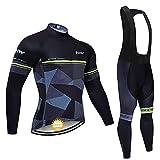 Conjunto Bicicleta Hombre Invierno Mangas Largas, Ropa Maillot Ciclismo Polar Térmico y Pantalones MTB con 5D Gel...