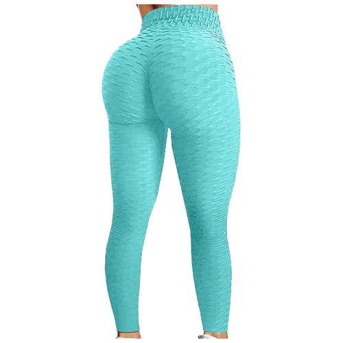 QTJY Pantalones de Entrenamiento de Cadera con Burbujas para Mujer, Pantalones de Yoga de Cintura Alta para Correr, Pantalones de Ejercicio con Push-up para Mujer, Pantalones para Correr EL