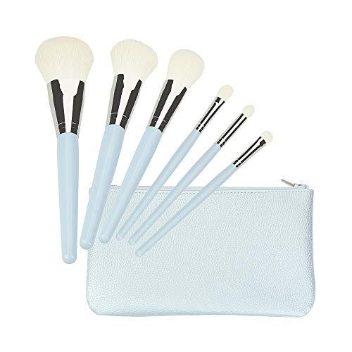 T4B MIMO Set De 6 Pinceaux De Maquillage Professionnels, Bleu Avec 1 Etui De Voyage Pratique