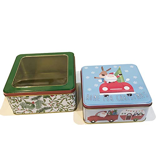 Christmas Cookie Tins with Lids for Gift Giving Empty Candy Snack Treat Swap Box Square Shape Metal Containers for Goodies, Chocolate, Nuts and Home Storage, Cerebrate a Holiday Set of 2