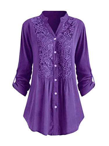 Minetom Chemisier Décontracté en Dentelle Tunique Femme Grande Taille Chic Blouse Élégant Fluide Manches Longues Tops Lâche T-Shirt Violet 44