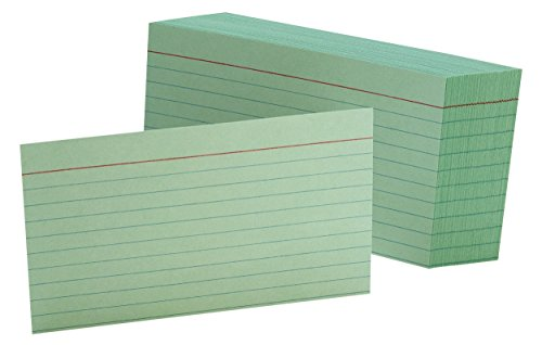 """Oxford Ruled Color Index Cards, 3"""" x 5"""", Green, 100 Per Pack (7321 GRE)"""