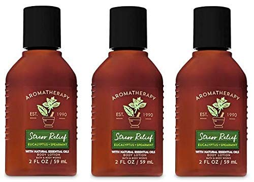 Bath and Body Works 3 Pack Aromatherapy Stress Relief Eucalyptus & Spearmint Travel Size Set. Body Lotion 2 Oz.