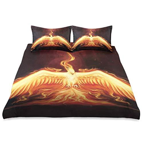 Funda nórdica, Phoenix Bird Burning Fiery Flies On, Juego de Cama de Microfibra de 3 Piezas Ultra Suavidad Cómodo diseño Moderno