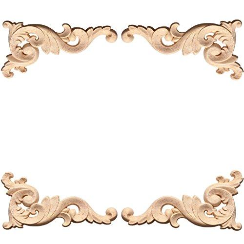 Susuntas 4pcs Wood Carved Corner Onlay Applique Woodcarving Decal Door Cabinet Frame Corner Onlay Unpainted Furniture-J202