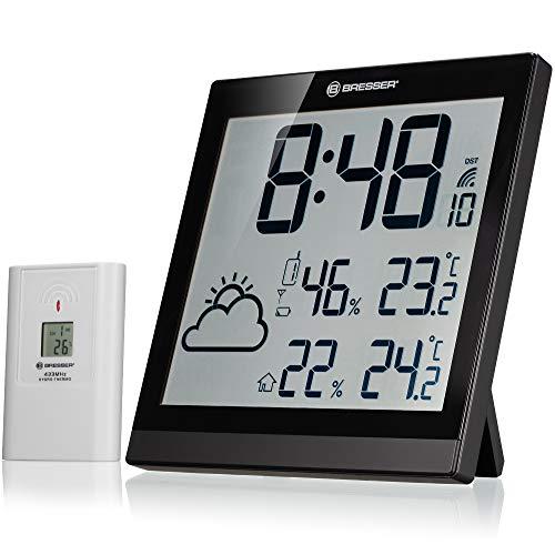 Bresser Orologio da Parete Meteorologico Temeotrend JC LCD Nero