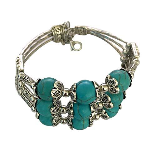 Skxinn Damen Mehrschichtige Vintage Stein Türkis Perlen Bettelarmband Lucky Gifts für Mädchen Frauen