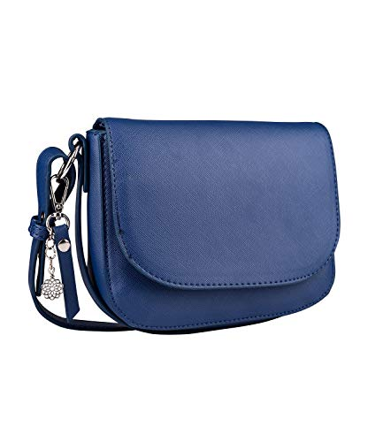 SIX Damen Handtasche, Minibag in dunklem Blau mit silbernen Details, Umhängetasche mit Klappverschluss, silberner Mandala Anhänger (726-625)