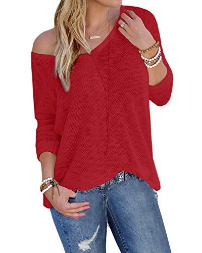 YOINS Suéter Punto Mujer Invierno Jersey Cuello en V Camiseta Manga Larga Jerséis Basico Suelto Jerseys Camisa Mujer Primavera Otoño A-Rojo S