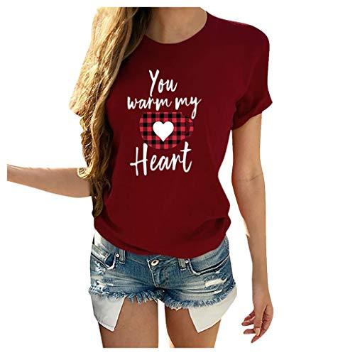 L9WEI Camiseta de Manga Corta con Cuello Redondo para Mujer Traje de Pareja Tops Sueltos Ocasionales Estampado Especial para el día de San Valentín Blusa de Mujer para Hombre Tops de Verano