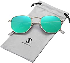 SOJOS Small Square Polarized Sunglasses for Men and Women Polygon Mirrored Lens SJ1072 with Gold Frame/Green Mirrored Lens