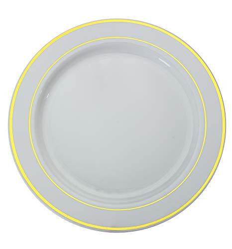 Gold On White Line Design Premium Plastic Wedding Plates (40 Pack) China-Like Heavy Duty Plastic Plates (9 Inch.)