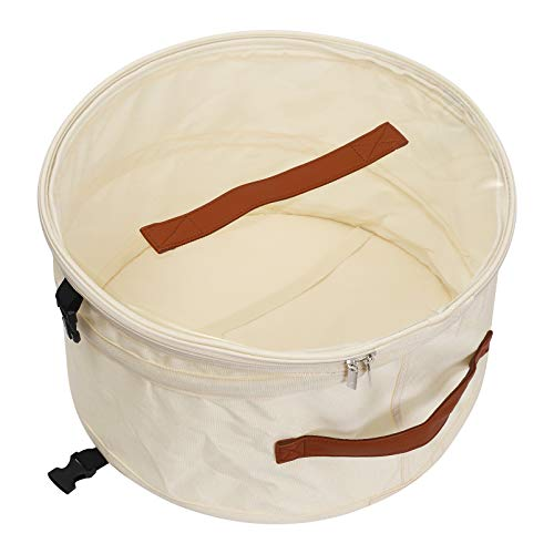 Caja de Almacenamiento para Sombrero, Redonda Caja para Sombrero con Asa y tapa transparente,Caja de almacenamiento plegable,17 pulgada Beige