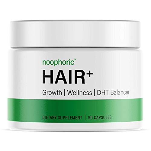 Noophoric Hair+ DHT Blocker & Natural Growth Supplement for Healthier, Thicker & Stronger Hair | Prevent Hair Thinning & Loss | Regrowth Treatment Capsules (1 Month Supply)