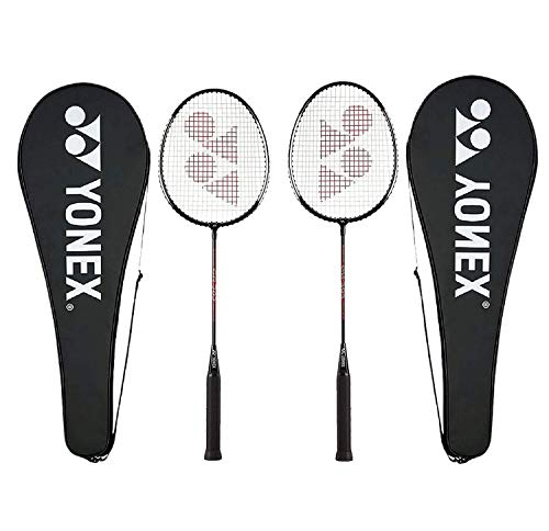 YONEX GR 303 Badminton Racket 2018 Professional Beginner Practice Racquet Face Cover Steel Shaft - Pack of 2