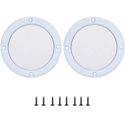 MAGT luidsprekerafdekking, 2 x 5 inch mesh luidspreker decoratieve cirkel subwoofer grill-afdekking metaal audio-luidspreker-afdekkingen bescherming met schroef (wit + wit)