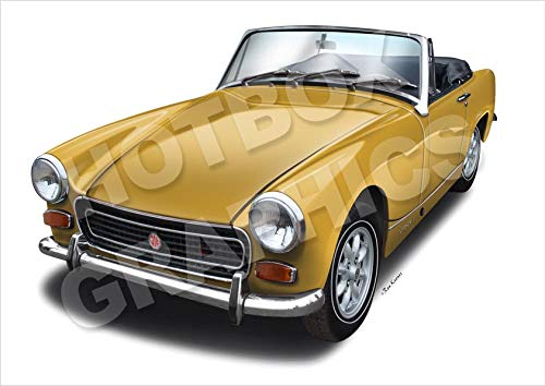 MG MIDGET SPRITE - Classic Car Print of Y ...